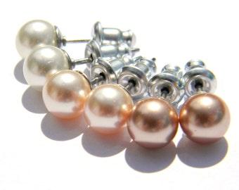 Hypoallergenic Pearl Earring Set  Heirloom Sepia Tones  Ivory, Peach, Rose Gold 6mm Swarovski Pearls  Stainless Steel  Post Earrings