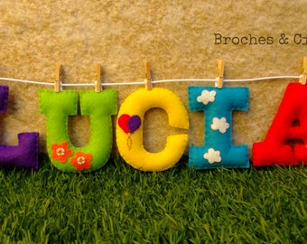 Personalized felt name.Room decoration.Banner name. Nursery.