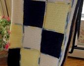 Navy Blue-Yellow-White Nautical Maine Cottage Throw Blanket