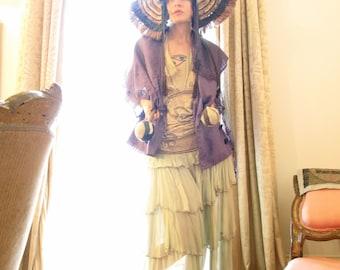 Vintage Christian Lacroix Design One of a Kind African Violet Silk Jacket