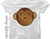 Monkey Iron on Shirt - Animal Iron on Transfer / Kids Monkey Tshirt / Toddler Jungle Shirt / Girls Clothing Tops / Monkey Baby Shower IT28