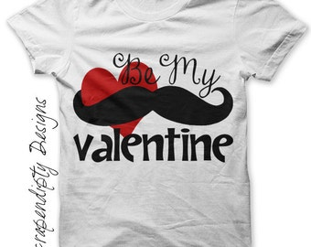 Mustache Iron on Shirt PDF - Be My Valentine Iron on Transfer / Cute Baby Clothes / Valentines Day Shirt / Kids Girls Clothing Top / IT169-P