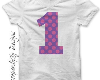 First Birthday Iron on Transfer - Number One Iron on Shirt PDF / Kids Girls Clothing Tshirt / 1st Birthday Shirt / Cute Baby Clothes IT55G-R