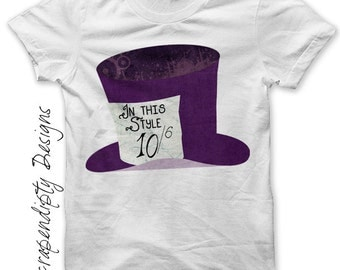 Mad Hatter Iron on Transfer - Story Book Iron on PDF / Purple Alice In Wonderland Shirt / Womens Tshirt / Kids Boys Clothing Tshirt IT71