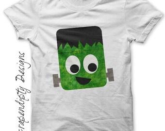 frankenstein iron on shirt pdf halloween iron on transfer tee kids halloween shirt - Homemade Halloween Shirts