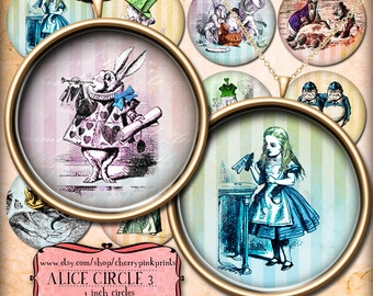 Alice in Wonderland Cake toppers, digital collage sheet, Vintage shabby chic style for pendants, magnets, scrapping, craft supply.