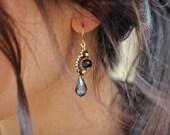 Beaded Black and Gold Earrings, Flower Dangle Earrings, Black Earrings, Teardrop Earrings, Beaded Earrings, Black Flower Earrings, OOAK