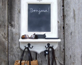 Paris Apartment Chalkboard with Fleur de Lis, Key Hooks, Shelf & Chalk holder by Arcadian Cottage