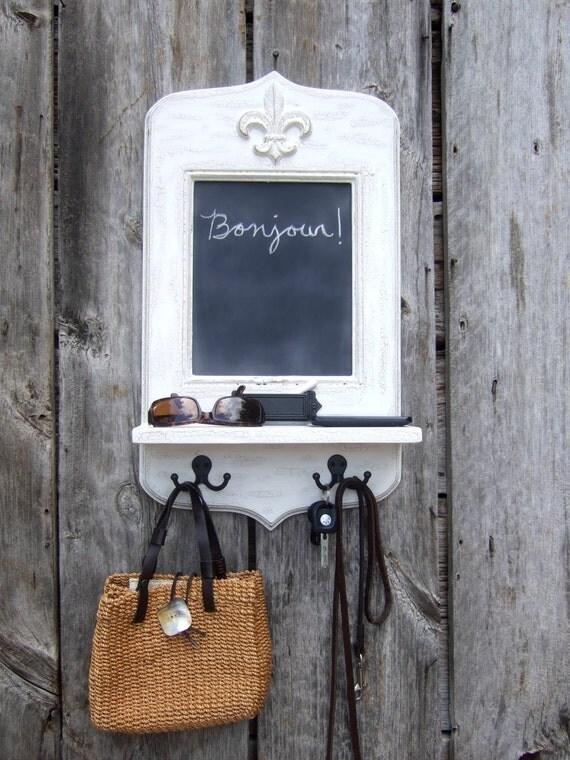 Paris Apartment Chalkboard with Fleur de Lis, Key Hooks, Shelf & Chalk holder by Arcadian Cottage
