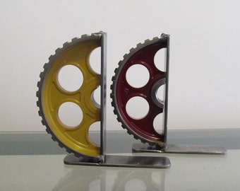 Pair of Mustard and Burgundy Gear-half Welded Metal Gear Bookends