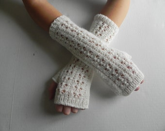 Knitting Arm warmers, fingerless gloves, arm cuffs in white Christmas gift