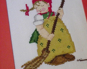 Hummel Cross Stitch Framed Little Sweeper Crossstitch Wall Home Decor itsyourcountry