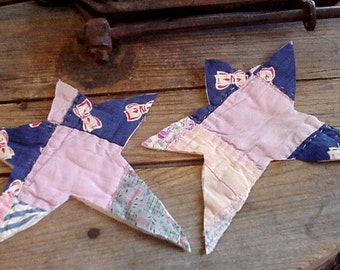 Prim Quilted Stars, Shabby Quilt Appliques, Large Vintage Primitive Star Cutouts, Upcycled Old Patchwork Embellishments itsyourcountry