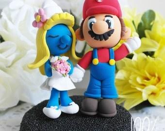 Custom Wedding Cake Topper - Super plumber & Smurfette
