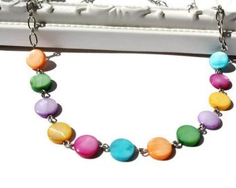 Rainbow Necklace, Simple Shell Jewelry with Multicolor Dots of MOP Shells on Chain