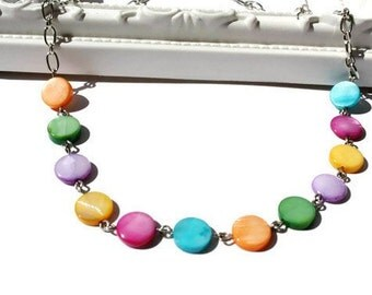 Rainbow Necklace, Simple Shell Jewelry with Multicolored Dots of MOP Shells on Chain
