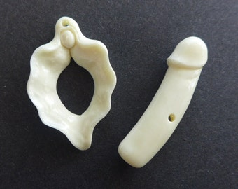 Mature - Yoni and Phallus Toggle Clasp - Hand Carved Bone - Balinese