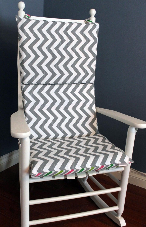 Rocking chair cushion grey and white multi chevron