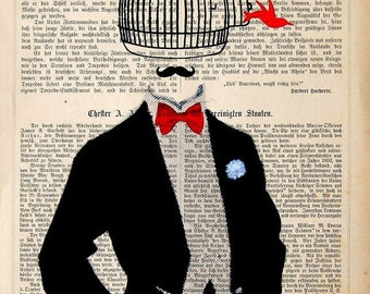 LOST IDEA  Birds Dictionary Print Poster Mixed Media Painting illustration vintage art modern art vintage birds fashion stylist