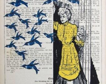 GOODBYE original ARTWORK original ARTWORK Giclee Prints Posters Mixed Media Acrylic Paintings Illustration Drawing