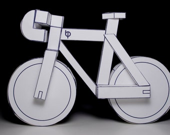 paperbikes v2 - PDF - fixed gear paper bike model kit- papercraft bicycle