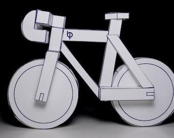 paperbikes v2 - PDF - fixed gear paper bike model kit- papercraft bicycle
