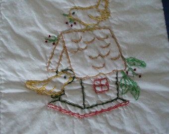 Embroidered Bird House Quilt
