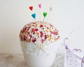 Teacup pincushion, handmade pin cushion, novelty pincushion