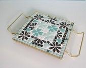 Mod Tile Trivet, Mosaic Tile Trivet, Turquoise Tile Trivet, Turquoise Trivet, Mid Century Tile Trivet