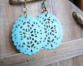 Oval Filigree Earrings - Blue Hand Painted Patina