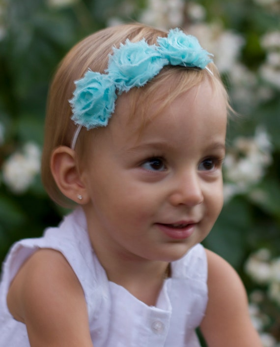 Triple Mini Shabby Flowers on Skinny Elastic Headband - choose from many colors, soft fabric flowers, by Lil Miss Sweet Pea