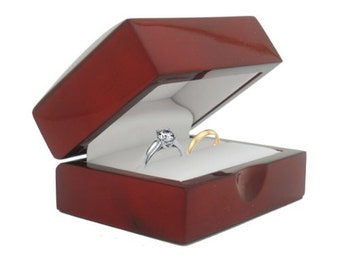 New Fancy MAHOGANY / CHERRY WOOD Double wedding band Engagement Ring Box With Leather Interior