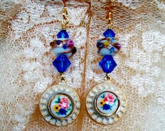 "VINTAGE Glass EARRINGS - ""My Sweetest One"" - Handmade, White Aged Metal Settings, Swarovski Sapphire, Wedding Cake Beads, Feminine Dangles"