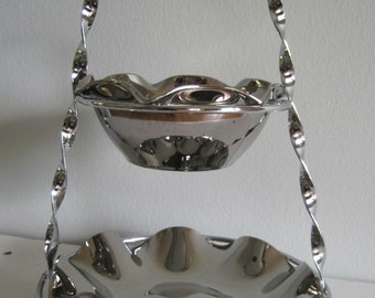 mid century fluted flashed silver bowls on chrome stand