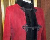 Vintage Red Suede Jacket with Black Furry Trim