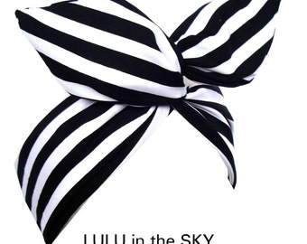 Black & white candy Stripe wire headband - Dolly bow - Pin up - Hair Wrap