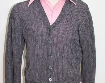 Vintage 60s Cardigan Sweater Pink Black Cardigan Atomic Mens Rockabilly Fashion 1960s Medium M Knit Button Up Sweater