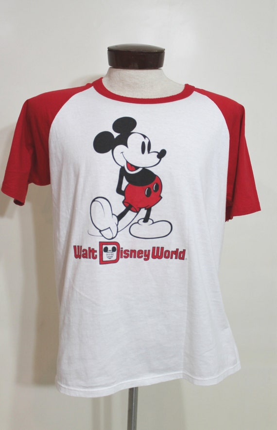 70s 80s mickey mouse t shirt ringer screen print tee walt for Oversized disney t shirts