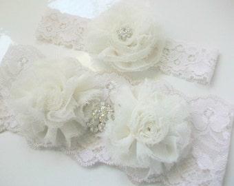 Ivory Lace Garter Set- Flower Bridal Garter, Rhinestone Wedding Garter Set, Lace Wedding Garter Crystal, Toss Garter, White Garter Belt