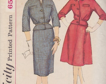 1960s Skirted Suit Mad Men Vintage Pattern, Simplicity 3730, Kimono Sleeve, Blouson Jacket with Peplum, Ascot, Slim Wiggle or A Line Skirt