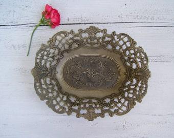 Filigree Fruit Bowl, Vintage Oval Bowl Decorative, Silver Plated Bowl Art Nouveau, Victorian Filigree Bowl Italian Decor Metal Trinket Bowl