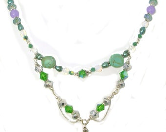 2 Strand Necklace Set, Swarovski, Bali Silver, Green Turquoise, Freshwater Pearls