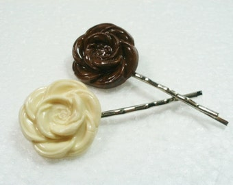 Chocolate Rose Hair Grips Bobby Pins. Polymer Clay.