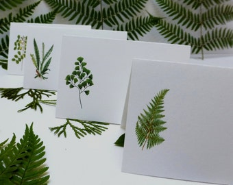 Fern cards, Wedding Place cards, Leaf place cards,  Botanical place cards, Woodland placecard,   Fern escort cards W109