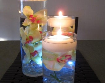 Green & Pink Orchid Floating Candle Wedding Centerpiece