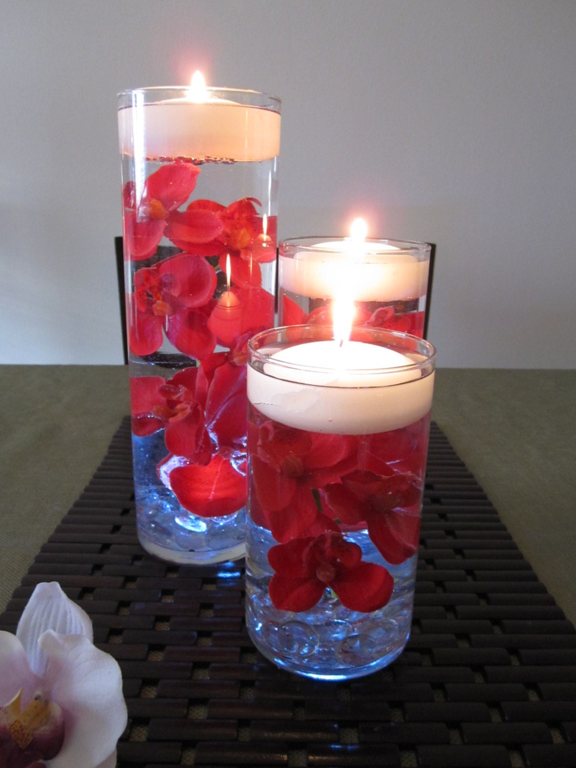 Red Orchid Floating Candle Wedding Centerpiece Led Light