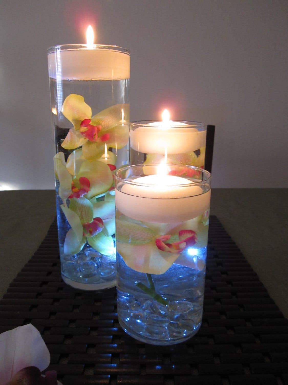 green pink orchid floating candle wedding centerpiece. Black Bedroom Furniture Sets. Home Design Ideas