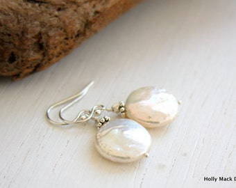 Coin pearl earrings, large pearl, sterling silver beads, sterling silver ear wires
