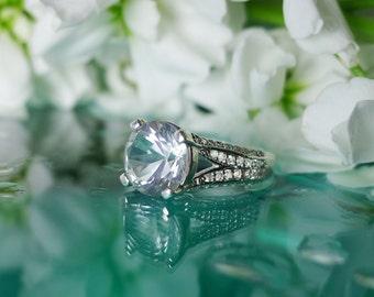 April Birthstone Ring, April Birthstone, April Birthday Gift, Natural Diamond Alternative, Herkimer Diamond, Sterling Silver