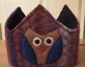 Reversible Waldorf 1st Birthday Crown Recycled Wool Sweater Owl Applique Adjustable